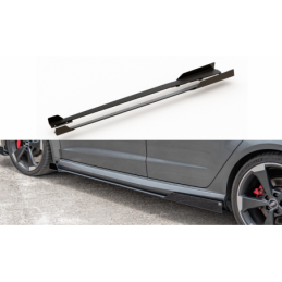 Racing Durability Side Skirts Diffusers + Flaps Audi RS3 8V Sportback Black-Red + Gloss Flaps