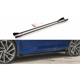 Racing Durability Side Skirts Diffusers + Flaps VW Golf 7 R Facelift Black-Red + Gloss Flaps