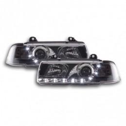 Phare Daylight LED DRL look BMW Série 3 Coupé, Cabrio type E36 92-98 chrome, Serie 3 E36 Coupé/Cab