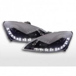 Phare Daylight à LED DRL look Ford Focus 3/4/5 portes. 98-01 noir, Focus I 98-05
