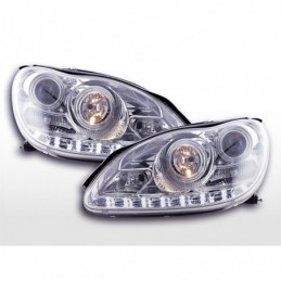 Phare Daylight LED DRL look Mercedes Classe S W220 02-05 chrome,  Classe S W220