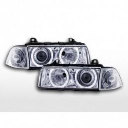 Jeu de phares au xénon angel eyes optique BMW 3er coupé type E36 année 92-98 chrome, Serie 3 E36 Coupé/Cab