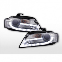 Phares Xenon Daylight LED feux de jour Audi A4 B8 8K 07-11 chrome, A4 B8 08-11