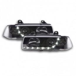 Phare de jour Feux de jour à LED BMW Série 3 E36 Coupé / Cabrio 92-98 noir pour conduite à droite, Serie 3 E36 Coupé/Cab