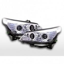 Phares avant xenon angel eyes LED BMW Série 5 E60 / E61 03-04 chrome pour conduite à droite, Serie 5 E60/61