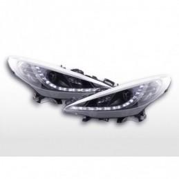 Phare Daylight LED Feux de jour LED Peugeot 207 06- noir pour véhicules avec direction à droite, 207