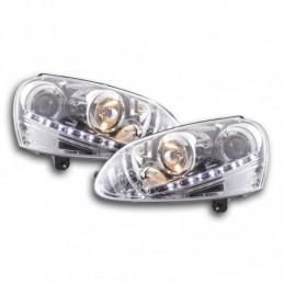 Phare Daylight à LED DRL look VW Golf 5 type 1K 03-08 chromé pour conduite à droite, Golf 5
