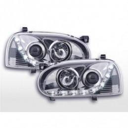 Phare Daylight LED feux de jour VW Golf 3 91-97 chrome pour conduite à droite, Golf 3