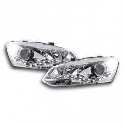 Phare Daylight LED Feux de jour LED VW Polo 6R 09- chromés pour conduite à droite, Polo V 6R 09-14