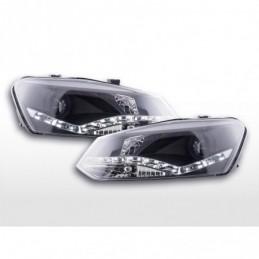 Phare de jour Feux de jour à LED VW Polo 6R 09- noir pour véhicules avec direction à droite, Polo V 6R 09-14