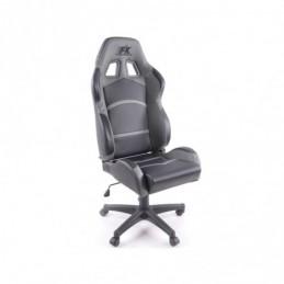 Chaise de bureau pivotante FK Sports Seat Chaise de bureau pivotante Cyberstar en cuir synthétique noir / gris, Sièges de bureau
