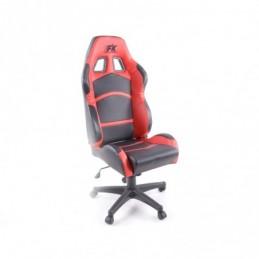 Chaise de bureau pivotante FK Sports Seat Chaise de bureau pivotante Cyberstar en cuir synthétique noir / rouge, Sièges de burea