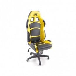 FK siège de sport chaise de bureau pivotante Cyberstar en cuir synthétique noir / jaune chaise de bureau pivotante, Sièges de bu