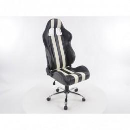 Chaise de bureau pivotante FK Sports Seat Nashville chaise de direction noir / blanc chaise de bureau chaise de bureau, Sièges d