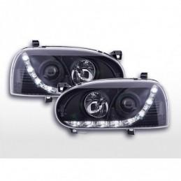 Phare Daylight LED feux de jour VW Golf 3 91-97 noir pour conduite à droite, Golf 3