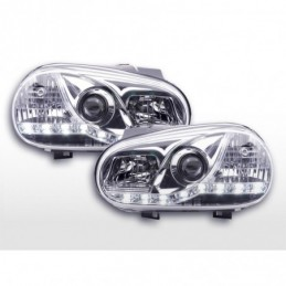 Phare Daylight LED Feux de jour LED VW Golf 4 97-03 chromé pour véhicules avec direction à droite, Golf 4