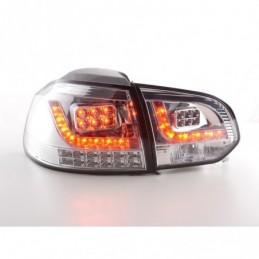 Set feux arrières LED VW Golf 6 type 1K 2008-2012 chromé avec clignotants LED pour conduite à droite, Golf 6