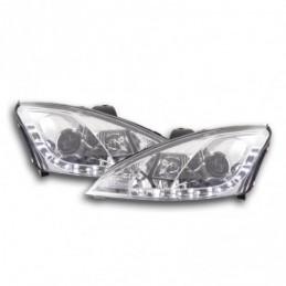 Phare Daylight à LED DRL look Ford Focus 3/4/5 portes. 01-04 chrome pour véhicules avec direction à droite, Focus I 98-05