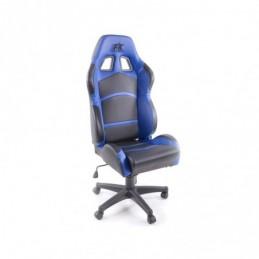 Chaise de bureau pivotante FK Sports Seat Chaise de bureau pivotante Cyberstar en cuir synthétique noir / bleu, Sièges de bureau