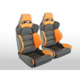 Sièges sport FK demi-sièges baquets Set Edition 1 simili cuir noir / orange, Sièges