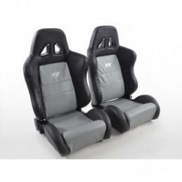 Sièges sport FK Sièges demi-coque pour voiture Dallas en look sport automobile gris / noir, Sièges