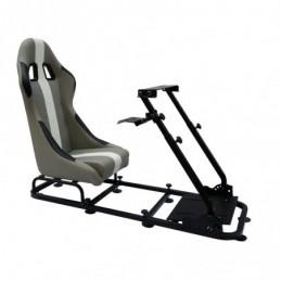 Siège de jeu FK siège de jeu simulateur de course eGaming Seats Interlagos gris / blanc, Sièges de Simulation