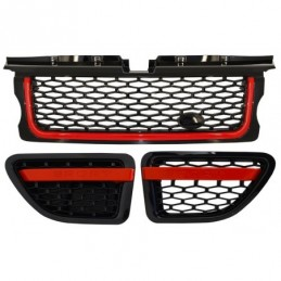 Central Grille and Side Vents Assembly suitable for Land Range Rover Sport L320 (2005-2008) Autobiography Look Black Red Edition