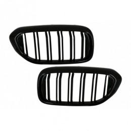Central Kidney Grilles suitable for BMW 5 Series G30 G31 Sedan Touring (2017-up) Double Stripe M Design Piano Black, Nouveaux pr