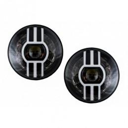7 Inch CREE LED Headlights DRL suitable for Jeep Wrangler JK TJ LJ  Defender Mercedes W463 Black, Eclairage Mercedes