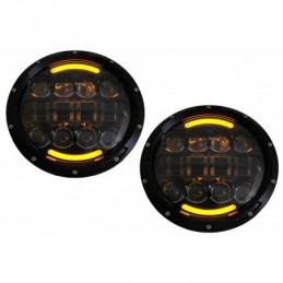 7 Inch CREE LED Headlights Angel Eye Amber Halo DRL suitable for Jeep Wrangler JK TJ LJ Land ROVER Defender Mercedes W463 Black,