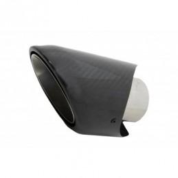 Universal Carbon Fiber Exhaust Muffler Tip Polished Look Inlet 6.2cm, Accessoires