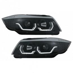 3D LED Angel Eyes Headlights suitable for BMW 3 Series  E90 Limousine E91 Touring (03.2005-08.2008) LHD Black, Nouveaux produits