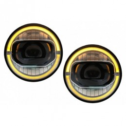 7 Inch CREE LED Headlights DRL Angel Eye Amber suitable for JEEP Wrangler JK (2007-2017) conversion to 2018 model, Nouveaux prod