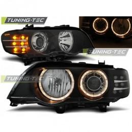 XENON PHARES AVANTS ANGEL EYES BLACK LED INDICATOR fits BMW X5 E53 09.99-10.03, X5 E53