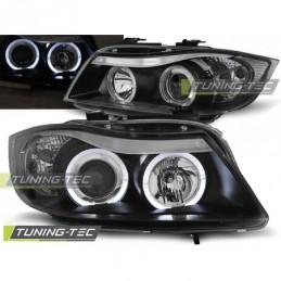 PHARES AVANTS ANGEL EYES BLACK fits BMW E90/E91 03.05-08.08, Serie 3 E90/E91