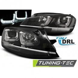 PHARES AVANTS U-LED LIGHT BLACK WITH CHROME LINE fits VW GOLF 7 11.12-17