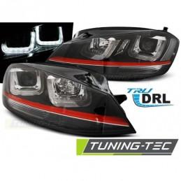 PHARES AVANTS U-LED LIGHT BLACK WITH RED LINE SPORT fits VW GOLF 7 12-17