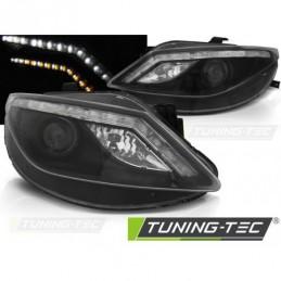 PHARES AVANTS DAYLIGHT BLACK with LED INDICATOR fits SEAT IBIZA 6J 06.08-12