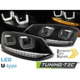 PHARES AVANTS U-LED LIGHT BLACK SEQ fits VW POLO 6R 09-03.14