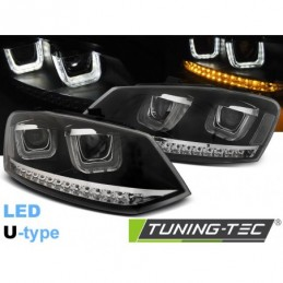 PHARES AVANTS U-LED LIGHT BLACK fits VW POLO 6R 09-03.14