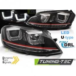 PHARES AVANTS U-LED LIGHT DRL BLACK RDD LINE SEQ fits VW GOLF 7 11.12-17