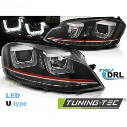 PHARES AVANTS U-LED LIGHT DRL BLACK RED LINE fits VW GOLF 7 11.12-17